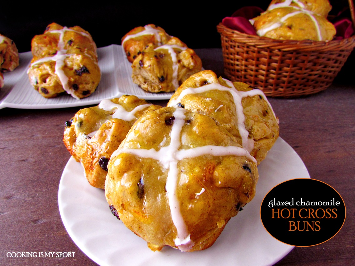 Chamomile Glazed Hot Cross Buns1