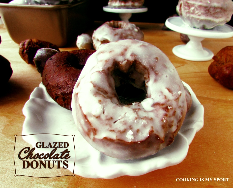 Glazed Chocolate Donuts by Cooking is my Sport