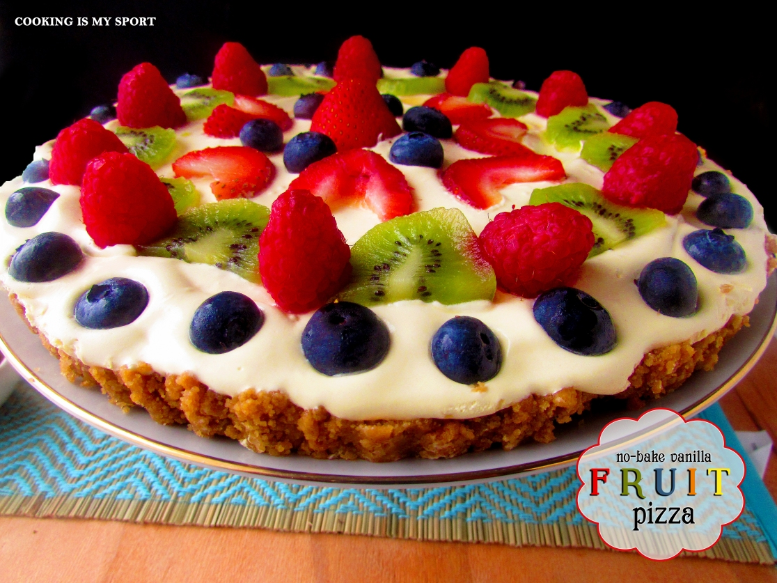 No Bake Vanilla Fruit Pizza