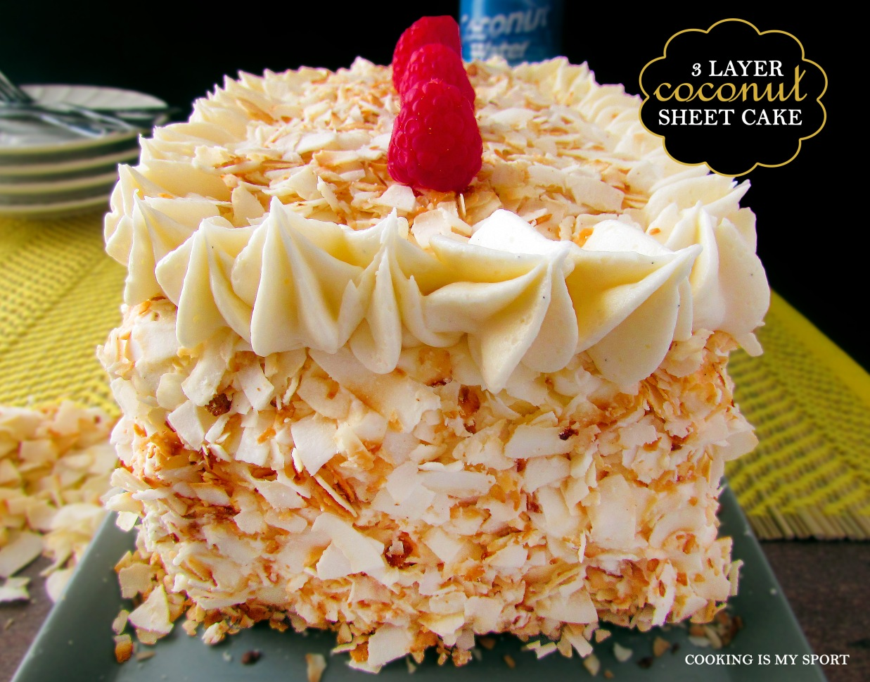 Three Layer Coconut Sheet Cake1