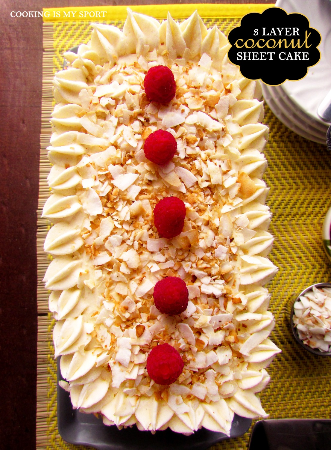 Three Layer Coconut Sheet Cake5