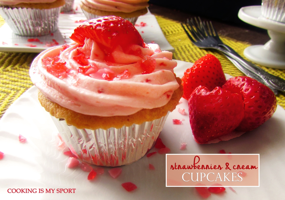 Strawberries and Cream Cupcakes1
