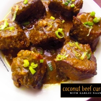 Coconut Beef Curry with Garlic Naan